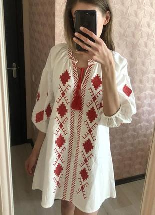 Новое платье вышиванка белое красное новая белая вышиванка вышивка