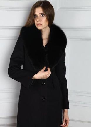 Изысканное длинное пальто с воротником иск мех