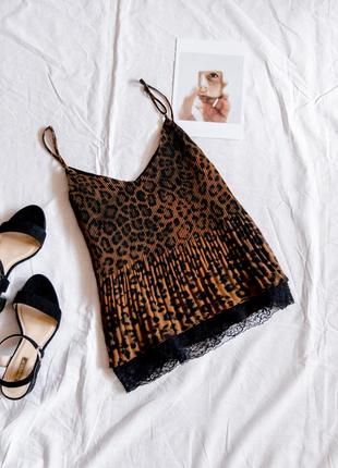 Шифоновая майка леопардовая, летняя майка нарядная, майка с кружевом, жіноча майка2 фото