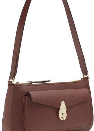 Calvin klein lock bag кельвин кляйн кожаная сумка на плечо коричневая