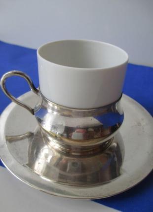Чашка germany koenigszelt silesia. фарфор п. серебро. антиквариат.