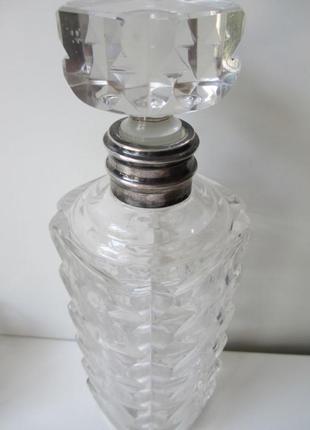 Графин хрусталь в серебре + 6 штук стопок. набор италия. антиквариат