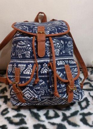 Рюкзак женский городской синий белый канвас с рисунком слоников dhgate рюкзак жіночий