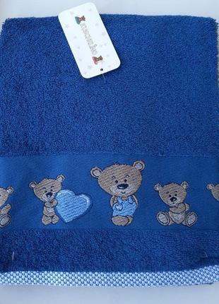 Детское махровое банное полотенце kuschelino мишки 100% хлопок турция