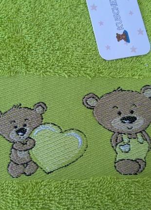 Детское махровое банное полотенце kuschelino мишки 100% хлопок турция2 фото