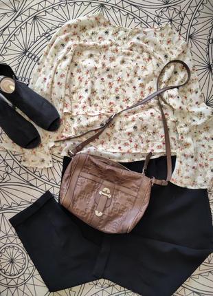 Трендовая кожанная сумка через плечо coccinelle
