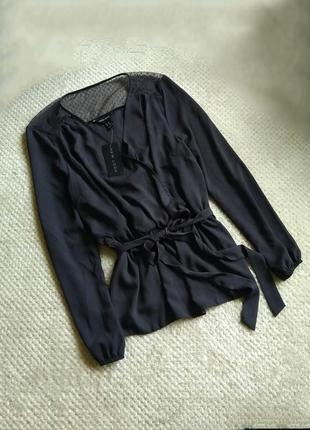Красивая блуза , глубокого темно серого цвета , новая , имитацина запаха , на запах