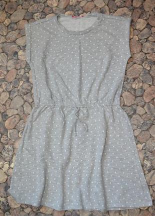 Спортивное серое платье в горох 12-13лет