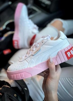 Женские кожаные розовые кроссовки {кеды} puma cali white pink {пума кали белые}3 фото
