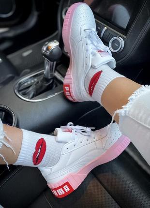 Женские кожаные розовые кроссовки {кеды} puma cali white pink {пума кали белые}4 фото