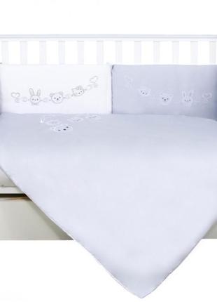 Постельный набор в детскую кроватку игрушки серый