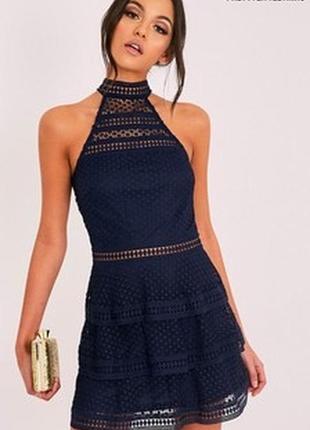 Красивое синее ажурное платье