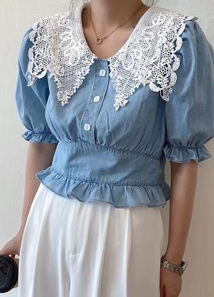 Женская кружевная рубашка с отложным воротником