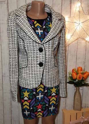 Твидовый пиджак букле в клетку твидовый жакет в стиле шанель chanel размер xl