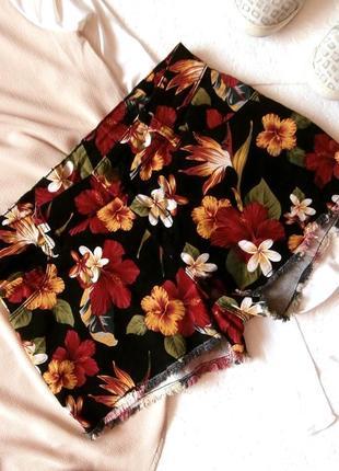 Котоновые шорты esmara в цветочный принт, яркие джинсовые шорты в цветы