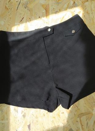 Женские шорты boohoo, короткие, высокая посадка, черные, размер 8