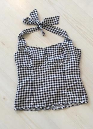 Трендовый летний топ винтажная блуза атласная в клетку виши h&m в стиле кантри