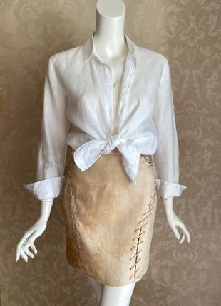 Versace оригинал италия дизайнерская шелковая летняя бежевая юбка
