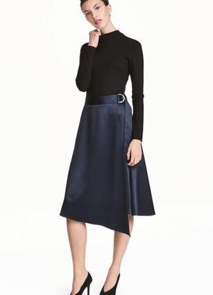 Сатиновая юбка на запах миди с поясом h&m