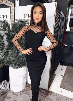 Чёрное миди платье креп дайвинг + сетка горох 2 цвета