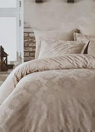 Постельное белье двуспальное евро dantela сатин-жакард 200x220 louisa bej