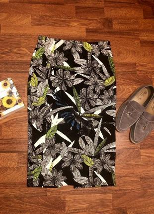 Новая юбка миди/ карандаш/ утяжка в цветочный принт ☘️
