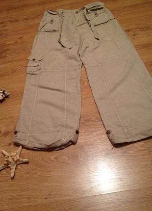 Стильные летние брюки лен +коттон под футболка топ бренд  atmosphere /l