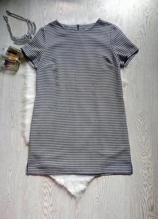 Серое короткое платье с короткими рукавами черное белое в принт гусиную лапку трапеция