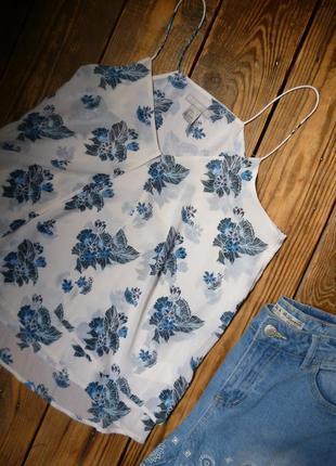 Топ h&m блуза xs-s /цветочный принт/ eur36 / майка на тонких бретелях