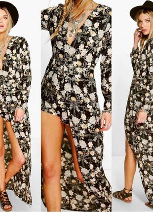 Длинное макси платье в пол \платье-ромпер\платье-комбинезон цветочный принт boohoo (к061)