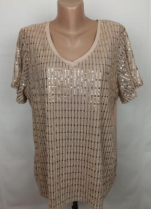 Блуза шикарная украшенная паетками большого размера george uk 18/46/xxl