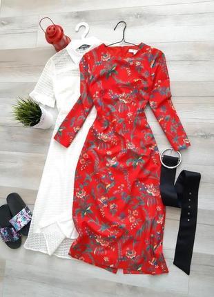 Платье миди в цветочек
