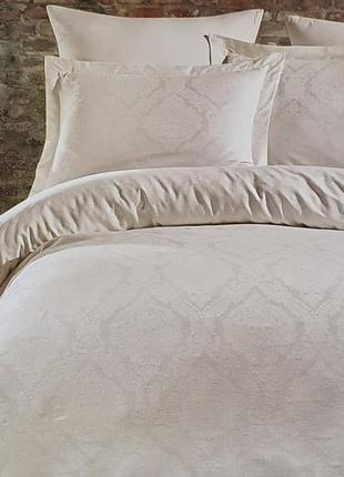 Постельное белье двуспальное евро dantela сатин-жакард 200x220 parashi krem