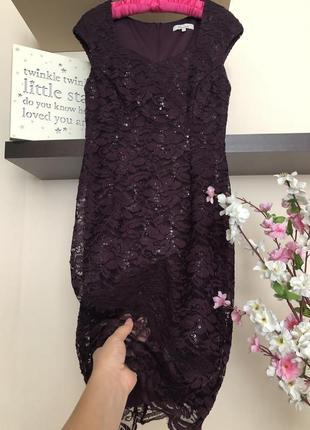 Вечернее кружевное платье с пайетками,