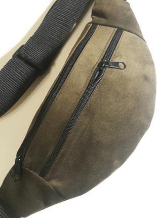 Бананка из натуральной кожи замши кожаная сумка на пояс на плечо замшевая барсетка барыжка