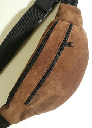 Бананка из натуральной кожи замши кожаная сумка на пояс на плечо барсетка барыжка
