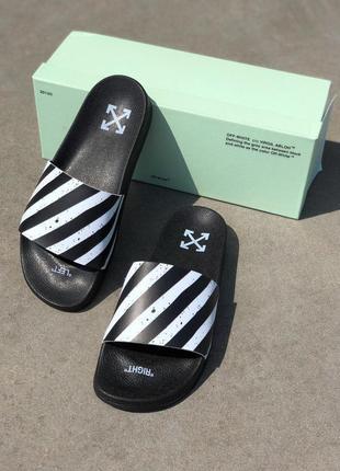 Женские тапочки off white slippers в черном цвете (40-45)