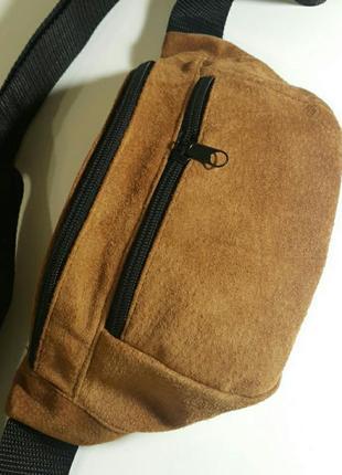 Большая бананка из натуральной кожи замши сумка на пояс кожаная барсетка на плечо барыжка