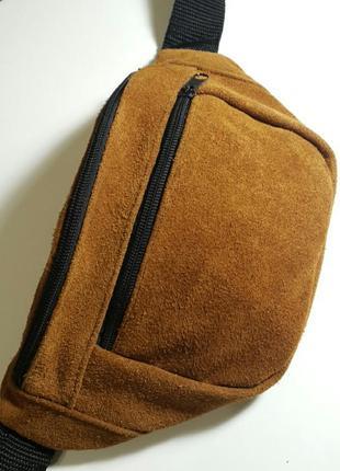 Большая бананка из натуральной кожи замши кожаная сумка на пояс на плечо барсетка барыжка