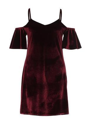 Велюровое платье edge street с открытыми плечами