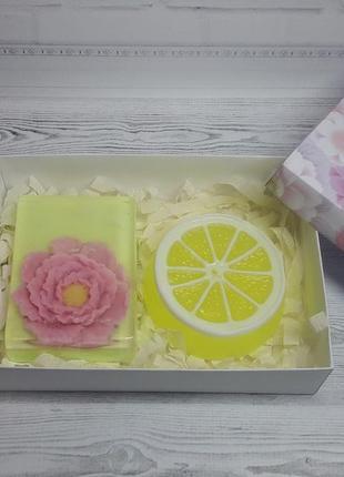 """Набор мыла ручной работы """"пион и долька лимона"""" 225 г."""