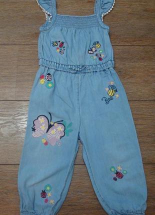 Красивый джинсовый ромпер комбинезон tu 1,5-2 года вышивки