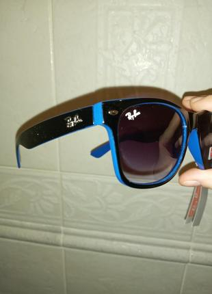 Ray ban вайфареры сине-чёрные унисекс очки италия  2020