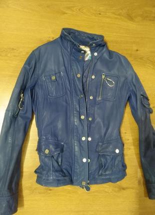 Куртка синяя кожаная