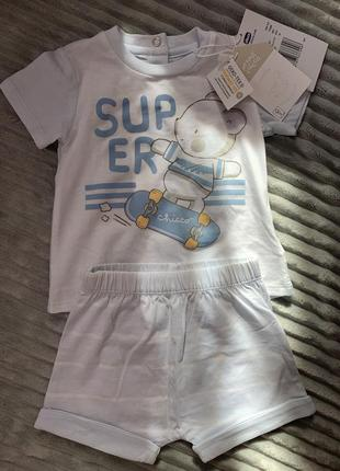 Летний костюм chicco хлопковый комплект шорты футболка