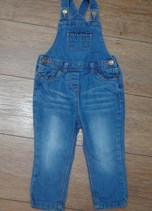 Красивый стильный джинсовый комбинезон george 1,5-2 года