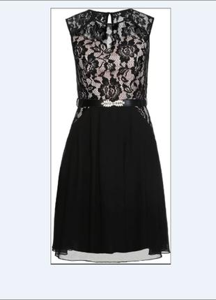 Вечернее женское платье с гипюром на нюдовой подкладке с/м размер