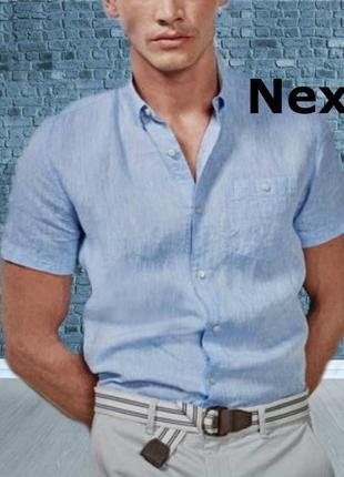 🌿🌿next regular fit лен+ хлопок стильная мужская рубашка короткий рукав l🌿🌿🌿