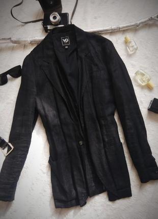 🔥🔥🔥ценопад! крутой чёрный  льняной пиджак n 484