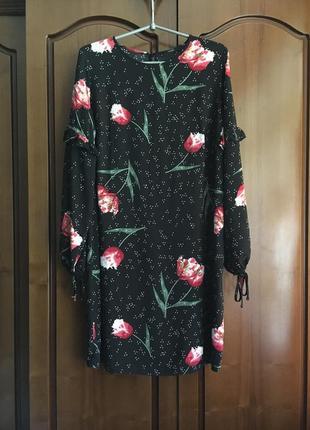 Платье с рукавом  с рукавом в цветочный принт george